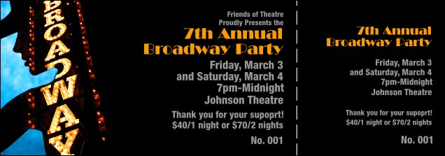 Broadway Event Ticket Product Front