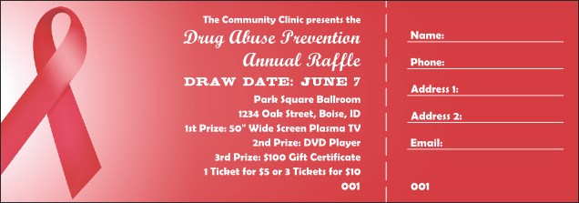 Red Ribbon Raffle Ticket Product Front