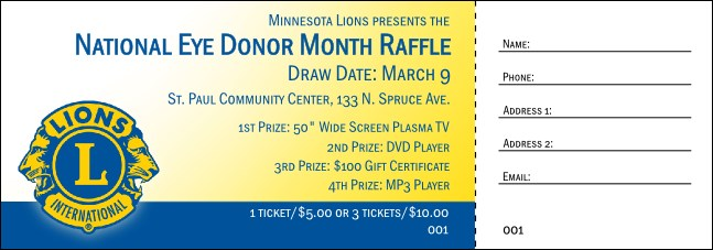 Lions Club Raffle Ticket 002