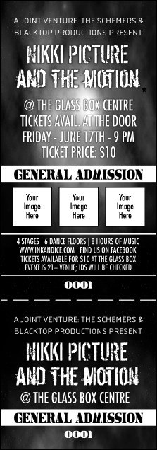 Galaxy Hip Hop Black and White Event Ticket