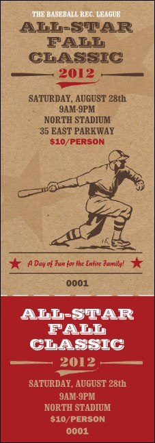 All Star Retro Baseball Event Ticket