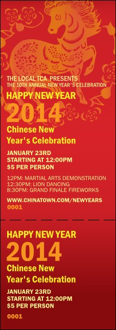 Chinese New Year 2014 Event Ticket
