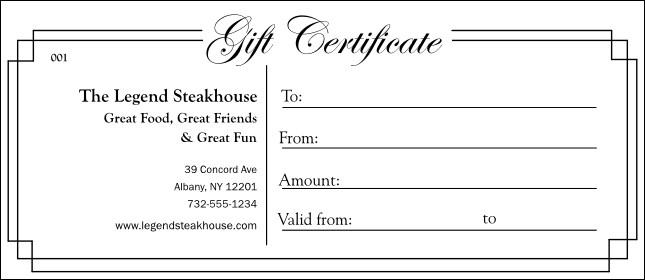 Black And White Gift Certificate - Numbered gift certificate template