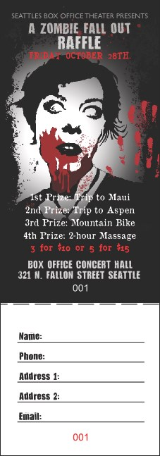 Zombie Woman Raffle Ticket