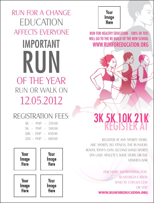 Run for a Cause Pink Invitation