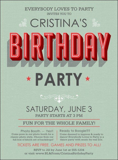 Birthday Party Green Invitation