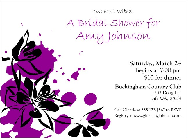 Purple Flowers Invitation