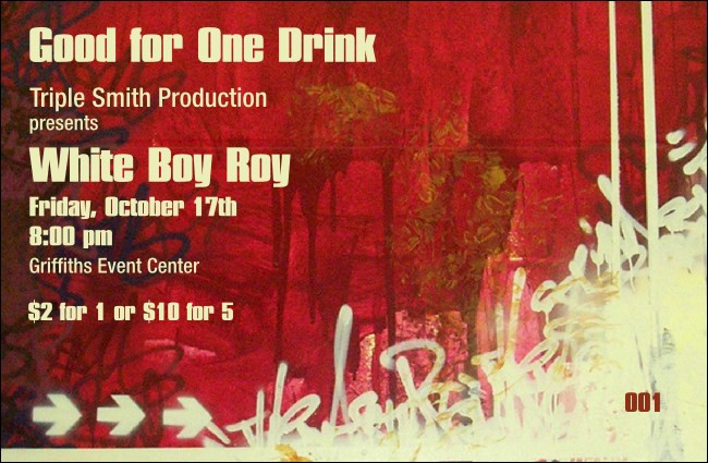 Hip Hop Red Drink Ticket