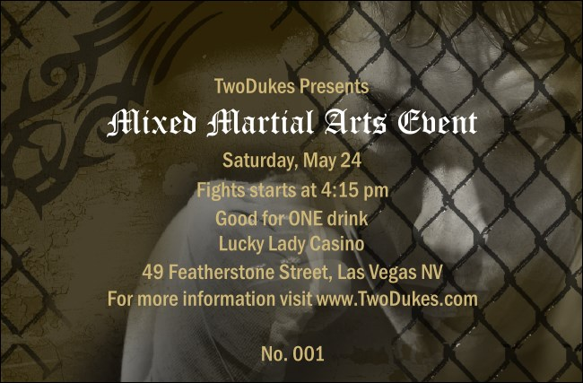 Mixed Martial Arts Drink Ticket