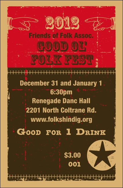 2012 Woodcut Drink Ticket Product Front