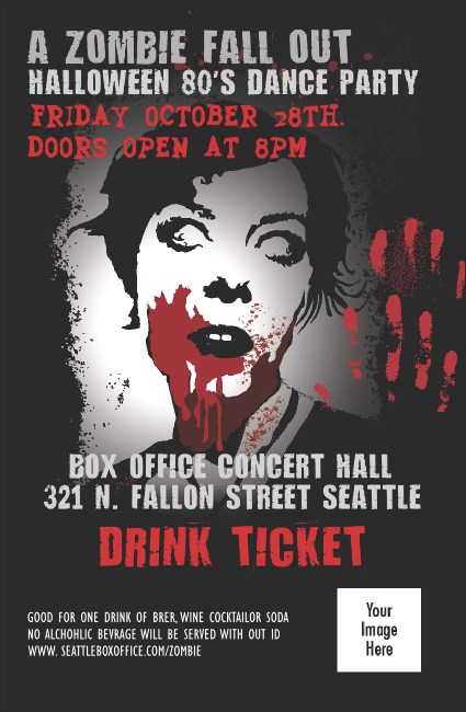 Zombie Woman Drink Ticket Product Front