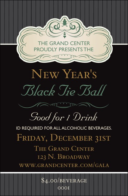 Classic Black Pinstripe Drink Ticket Product Front