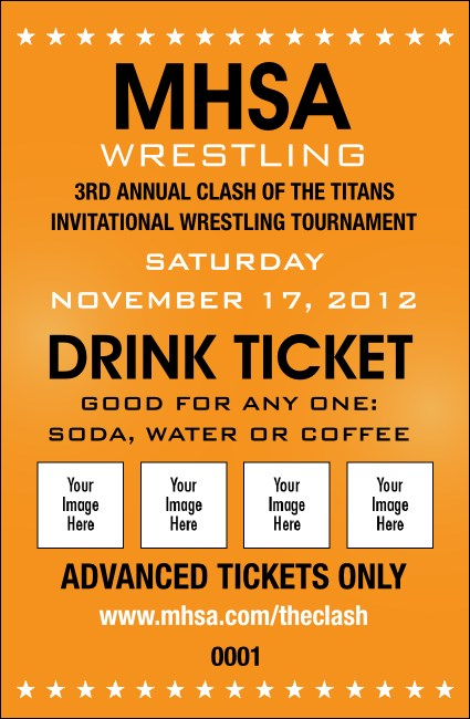 Wrestling Drink Ticket (Orange)