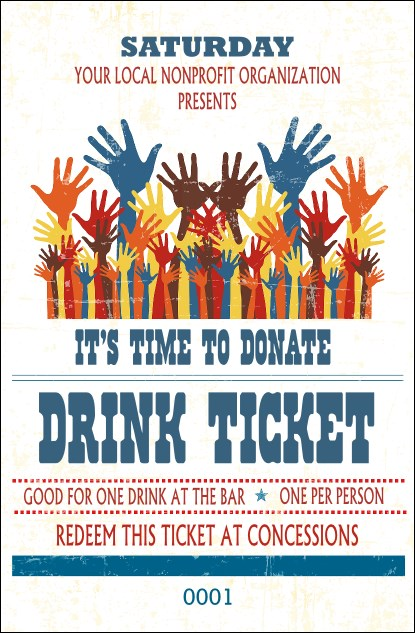 Fundraising Hands Drink Ticket Product Front