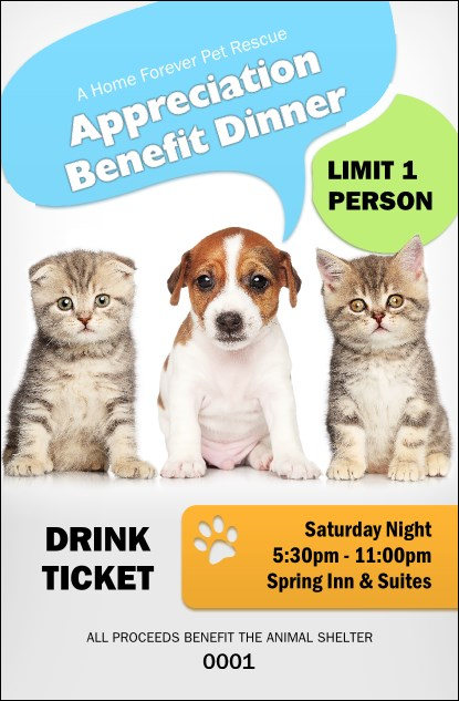Animal Rescue Drink Ticket Product Front