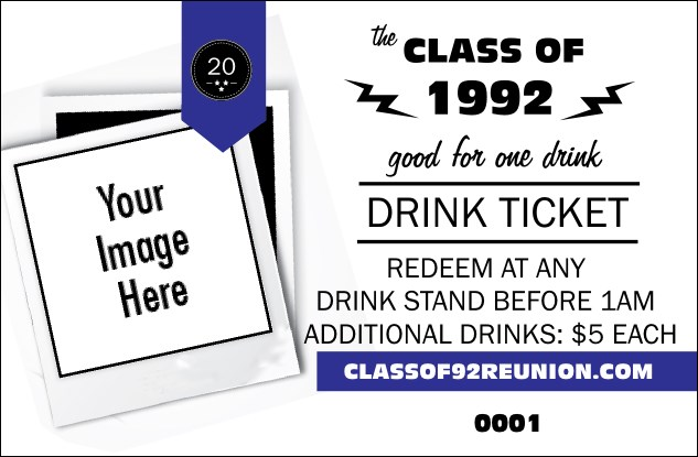 Class Reunion Mascot Blue Drink Ticket