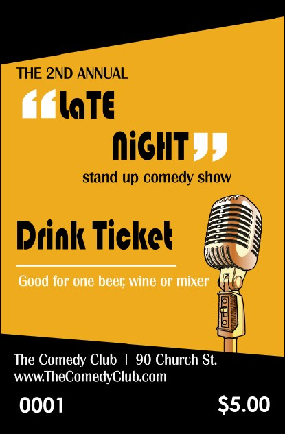 Comedy Retro Microphone Drink Ticket