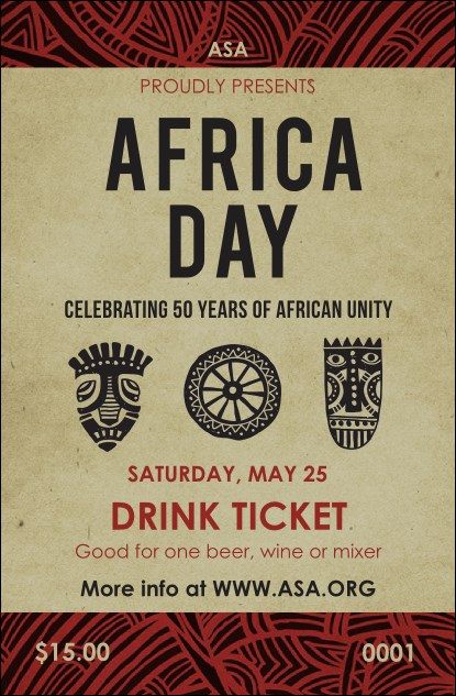 African Theme Drink Ticket Product Front