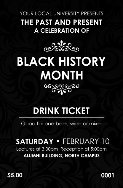 Black History Month Drink Ticket Product Front