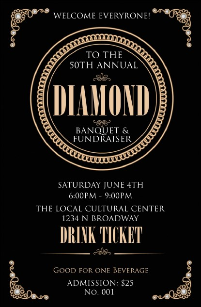 Diamonds Black Drink Ticket Product Front