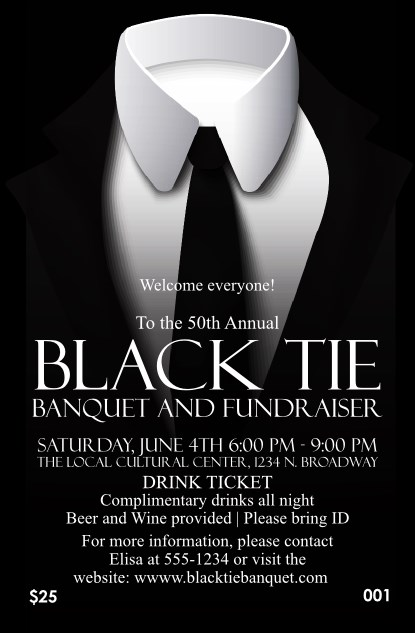 Black Tie Drink Ticket Product Front