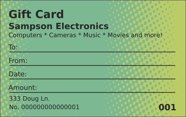 Techno Green Gift Card