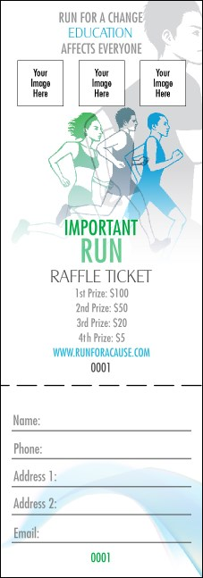 Run for a Cause Blue & Green Raffle Ticket Product Front