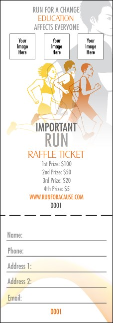 Run for a Cause Orange Raffle Ticket