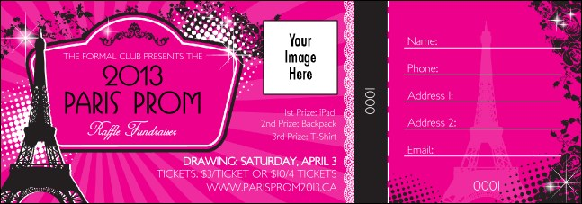 Paris Pink and Black Raffle Ticket