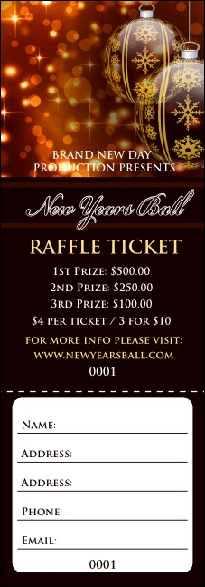 Golden Ornament Raffle Ticket