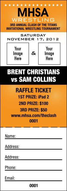 Wrestling Raffle Ticket (Orange)