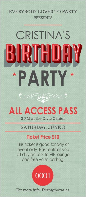 Birthday Party Green VIP Pass