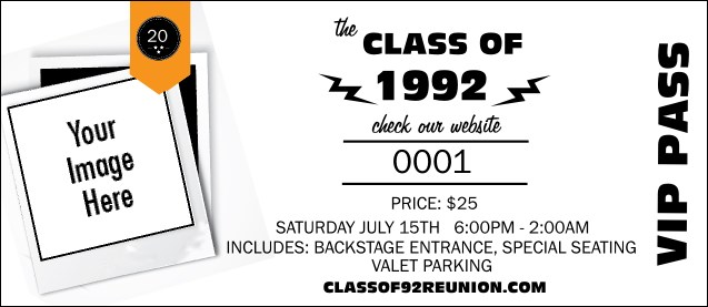 Class Reunion Mascot Orange VIP Pass