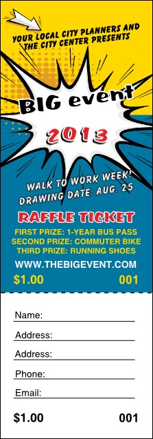 Retro Comic Book Raffle Ticket