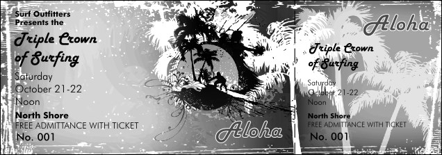 Aloha Event Ticket (black and white)