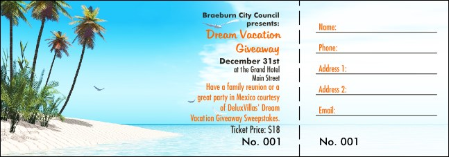 Beach Raffle Ticket