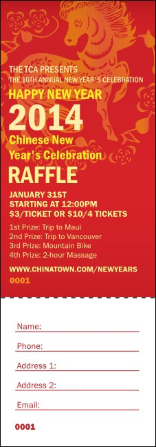 Chinese New Year 2014 Raffle Ticket