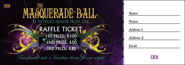 masquerade ball raffle ticket