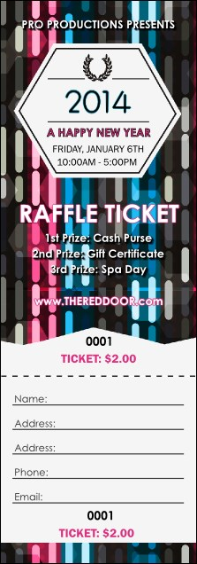 Year Neon Lights Raffle Ticket