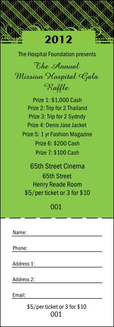 2012 Gala Plaid Green Raffle Ticket