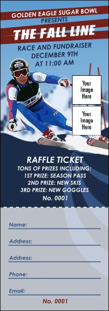 Ski Race Raffle Ticket Product Front