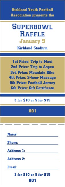 Sports Raffle Ticket 002 in Blue and Gold