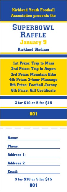 Sports Raffle Ticket 003 in Blue and Yellow