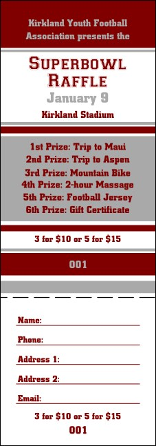 Sports Raffle Ticket 007 in Maroon and Silver Product Front