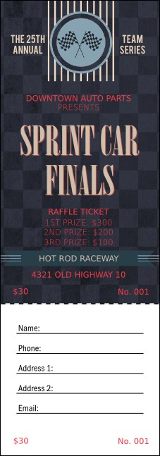 Car Racing Raffle Ticket Product Front