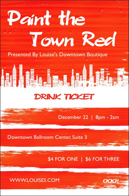 Paint The Town Red Drink Ticket