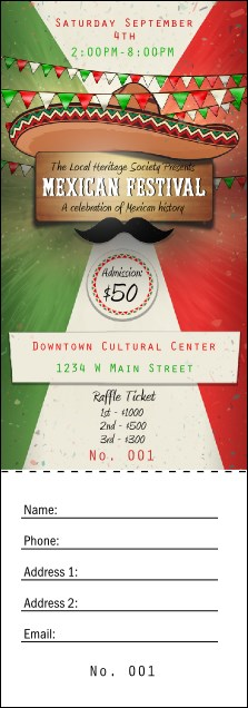 Mexican Fiesta Raffle Ticket Product Front