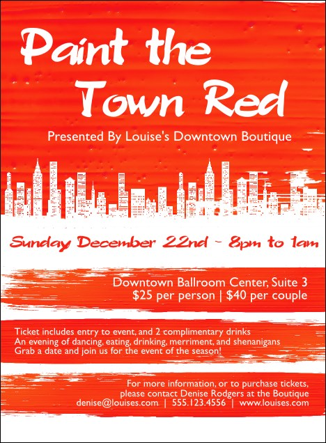 Paint The Town Red Invitation