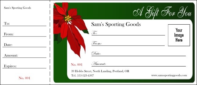 Christmas Poinsettia Gift Certificate 001