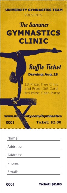 Gymnastics Raffle Ticket Product Front